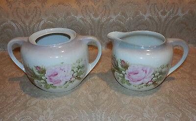 Vintage SUGAR & CREAMER SET GERMANY Pink Roses & Lily of The Valley