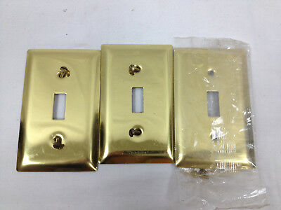 3 Brass Toggle Light Switch Wall Plates Covers