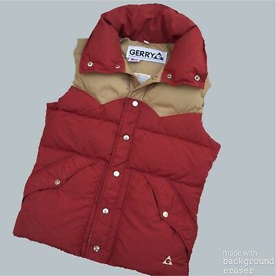 Vintage Gerry Puffer Vest Down Filled Mens Size Small Two Tone Ski Vest Made USA