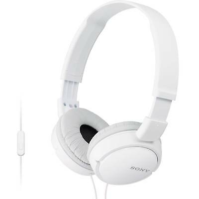 Sony MDR-ZX110AP Extra Bass Headphones with Mic for iPhone & Android (White)