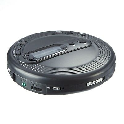 ONN Portable CD Player with FM Radio and Anti-Skip Protection, Black