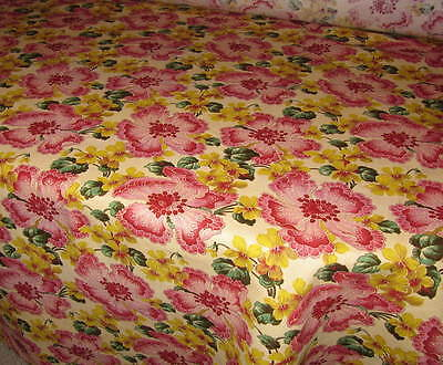 Floral Butter Yellow Pink 7 oz. 100% Linen Fabric BTY (By The Yard)