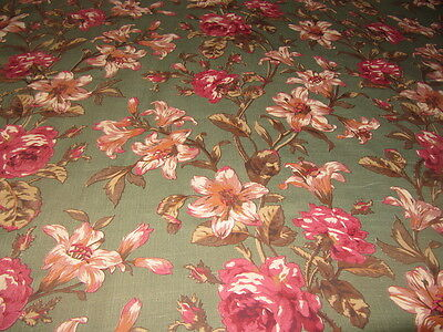 Autumn Floral Green 7.5 oz Belgium Linen Fabric NEW