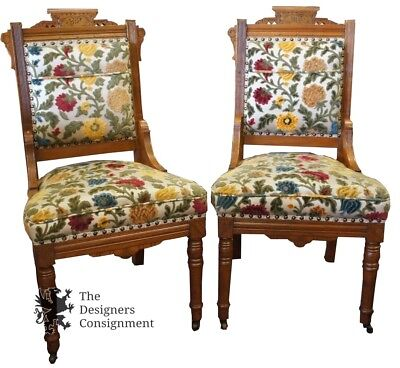 Wonderful 2 Antique Carved Victorian Eastlake Walnut Parlor Chairs Floral Upholstery  Ships