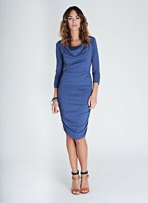 New Isabella Oliver Maternity Blue Career Essential Nursing Dress Sz 2 Small 4/6