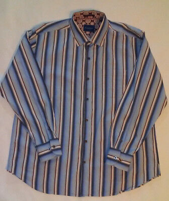 Tommy Bahama Mens XL Blue/Cream/Burgundry Stripe Cotton/Silk Long Sleeve B-21