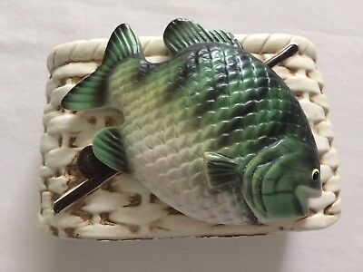 Vintage Napco Ceramic Creel Fisher Box Green Fish and Rod and Reel 5 3/4 X 3 1/2