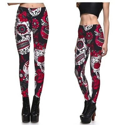 UK SUGAR CANDY SKULL LEGGINGS Gift Idea Yoga Clubbing Fitness Goth Gothic Boho