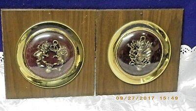 Vintage~Antique Shadow Box Style Wall Tile Coat Of Arms~ Crest Lion And Crown