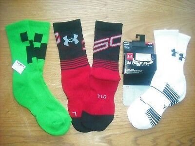 Boys NWT Under Armour Steph Curry Minecraft Crew Socks 3prs Green Red Ages 8-11