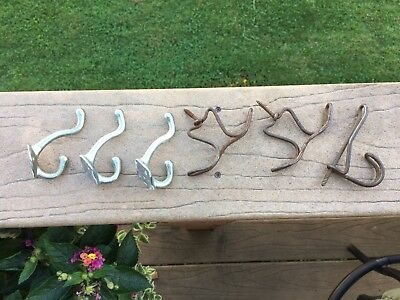 Vintage Twisted Wire Hooks(3)Hangers/5 Screw In SilverMetal Coat Hat Hook Rustic