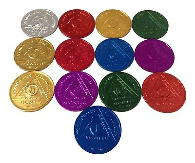 AA Alcoholics Anonymous Coins 13 In Set: 24 Hr -1 Year Anniv. Medallions
