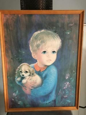 "VINTAGE 1960's MOJER MID CENTURY FRAMED ART PRINT - ''PUPPY LOVE"" GORGEOUS  RARE"