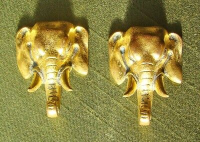 2 antique French or English gilt bronze ELEPHANT mounts for clock or ?? (ormolu)