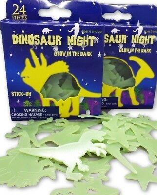 """GLOW IN THE DARK DINOSAURS & STARS"" 24 Plastic Stick on Shapes"