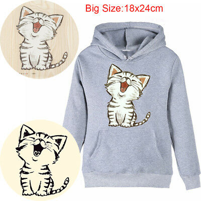 Washable Iron on Patches Heat Transfer DIY Appliqued Clothes Funny Cat Stickers