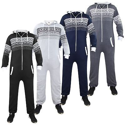 New Unisex Mens Womens Aztec Print Hooded All In One Cuffed Lined Jumpsuits