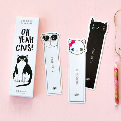 30Pcs/pack Kawaii Cat Paper Bookmark Stationery for Book Holder Message Card