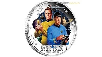 1 $ Dollar Star Trek Enterprise Captian Kirk & Spock Tuvalu argent 1 once 2016