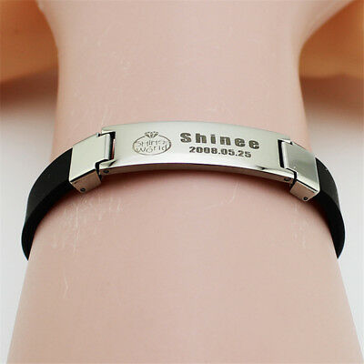 Kpop Shinee World Key Jonghyun LeeTaemin Titanium Steel Bracelet Bangle