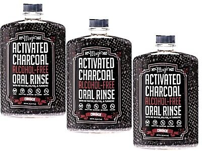 3 x 420ml MY MAGIC MUD Activated Charcoal Oral Rinse - Alcohol Free Cinnamon