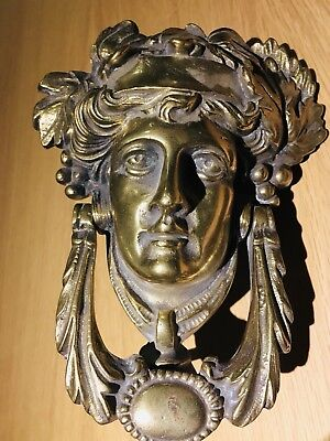 Antique Victorian C1890 Quality Brass Door Knocker Dionysus Greek God of Ecstasy