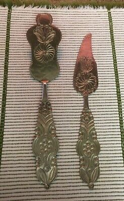 Pie /Cake Cutter And Server Brass? Ornate India?