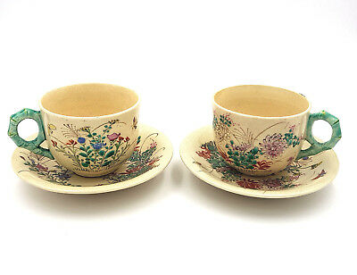 Antique Japanese Satsuma Meiji Period Pottery Cups Saucers Hand Painted- 4Pc Set