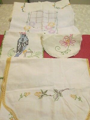 Lot of 5 Items vintage Embroidery Runners/ Small Table cloth
