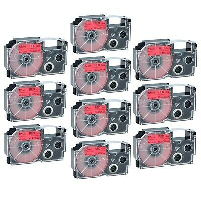 """10PK XR-12RD Black on Red Label Tape for Casio KL-60 100 7000 8200 8800 1/2"""""""