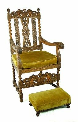 Antique Heavily Carved Renaissance Throne Chair Eagles Cherubs w Footstool