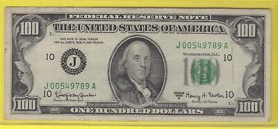 1963A (J)  Federal Reserve Note One Hundred Dollar Bill..vf..$100.00..789