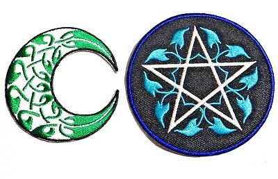 "BLACK CAT CRESCENT MOON STAR IRON ON PATCH 10/"" FULLBACK OCCULT WICCAN WITCH"