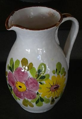 Charming ITALY Ceramic Art Pitcher Jug Vase with Colorful Hand Painted Flowers