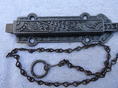 Old Eastlake Spring-Loaded Ornate Double Door Barn Latch Lock #44-E