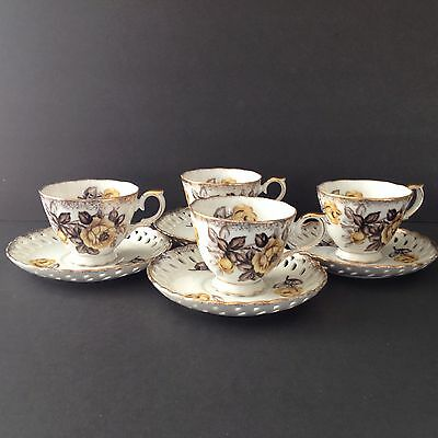 Vtg Teacup & Pierced Saucer Set Of 4 Yellow Roses Old Accent Trimont Japan China