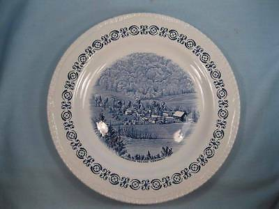 Plymouth Village Vermont Plate Wood & Sons Heritage Trail Transferware Blue (O)