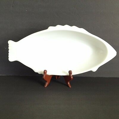"Vintage Glasbake Fish Platter Tempered Milkglass White Large 18"" Holiday Buffet"