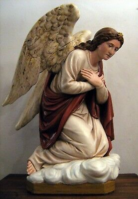 Kneeling Angel Church Statue--large vintage fully-restored antique plaster art