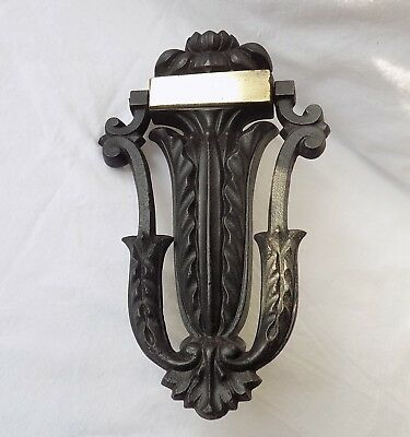 Vintage Antique Cast Iron Door Knocker.flower,leaves & Scrolls.brass Nameplate.