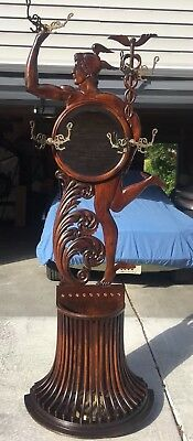 Rare QuarterSawn Oak Figural Mercury Umbrella/Hall Stand W/ Mirror & Coat Hooks