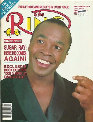 RING MAGAZINE: 1988 September (Sugar Ray Leonard to front cover), superb/clean!