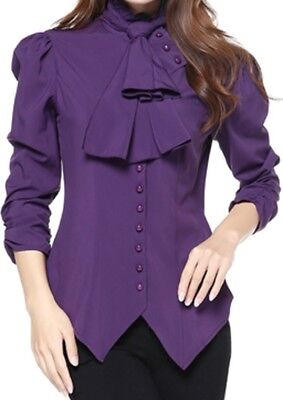 XS SM MD LG XXL - Purple NEW Gothic Pearl Button Victorian Ruched Blouse Top