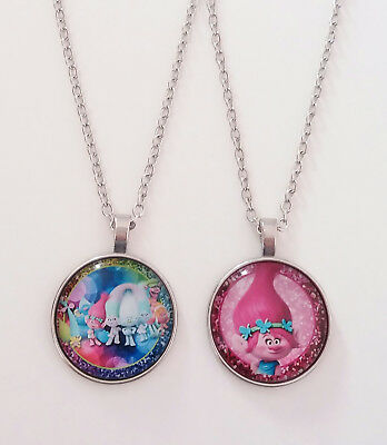 Silver Tone Dreamworks Inspired Trolls Glass Dome Necklace Pendant Gift Bag