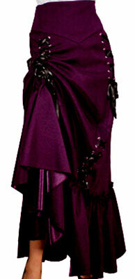 XS SM MD LG XL XXL - Gothic Purple NEW Steampunk Ruched Corset Victorian Skirt