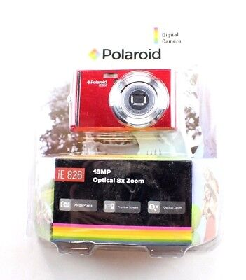 """Polaroid iE 826 Digital Camera Red 18 MP Optical 8X Zoom 2.4"""" Preview Screen New"""