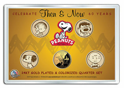 PEANUTS Then & Now  24K Gold Plated US State Quarter 5-Coin Set 2-SIDED MUST SEE