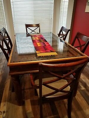 vintage custom-made wooden dining table with glass top, made of wine cellar door