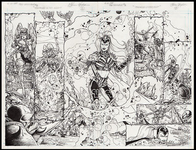 Lady Death #4 Double Page Spread Art by Steven Hughes