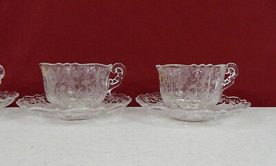Set of 6 Cambridge Rose Point Cup and Saucer (3900)